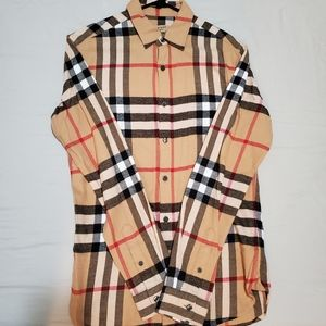 Burberry plaid button down  shirt